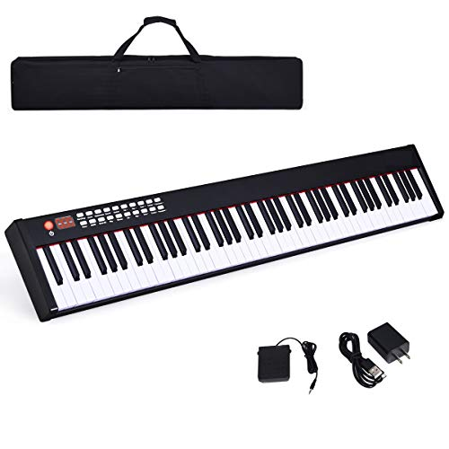 Costzon BX-II 88-Key Portable Touch Sensitive Digital Piano, Upgraded Electric Keyboard with MIDI/USB Keyboard, Bluetooth, Dynamics Adjustment, Sustain Pedal, Power Supply, and Black Handbag (Black)