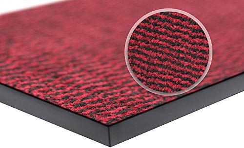 WELLMAX Felpudo antisuciedad – Alfombra de entrada interior y exterior absorbente antideslizante alfombra de perfil bajo para puerta delantera y pasillo (rojo y negro, 90 x 300 cm)