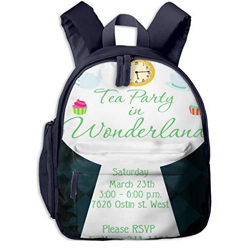 Mochilas Infantiles, Bolsa Mochila Niño Mochila Bebe Guarderia Mochila Escolar con Alice Tea Party Wonderland para Niños De 3 a 6 Años De Edad