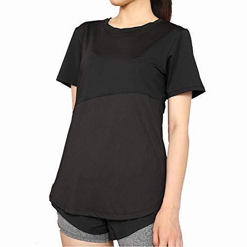 BESIDE STAR Camiseta Deportiva para Mujer Camiseta elástica para Correr Camiseta Funcional de Secado rápido Transpirable Fitness Yoga Gimnasio Senderismo Fitness Ropa Informal Negro S