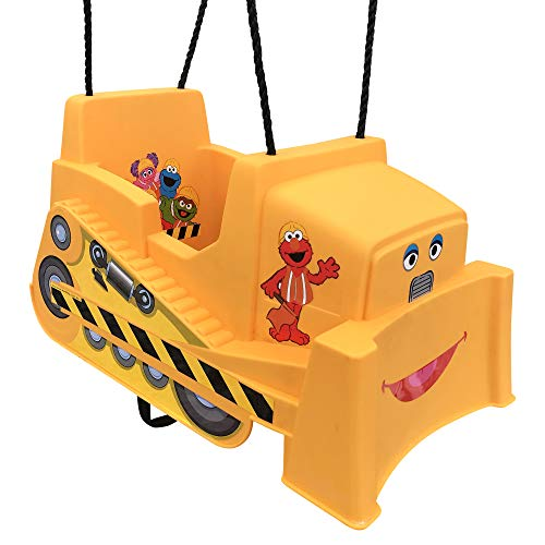 Sesame Street Bulldozer Toddler Swing, Inspire Outdoor Play, Encourage Imaginative Fun! Durable Bucket Swing Seats Baby and Toddler Safely & Comfortably, Perfect Backyard Playground Toy