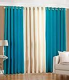 Luxury Homes Modern Polyester Long Crush 3 Piece Curtain Set - (2 Aqua 1 Cream) - 7ft
