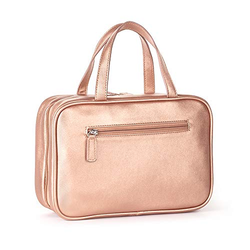 Mealivos Large Versatile Travel Cosmetic Bag - Perfect Hanging Travel Toiletry Organizer (Rose Gold)
