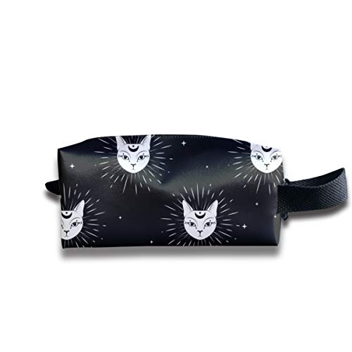 Travel Toiletry Pouch Cat Face with Moon Night Sky Kit Make-up Bag with Handle
