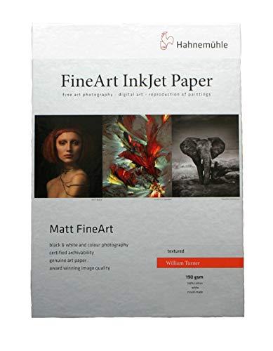 Hahnemühle 10641627 Digital FineArt William Turner Papier, 190 g/m², DIN A4, 210 x 297 mm, weiß