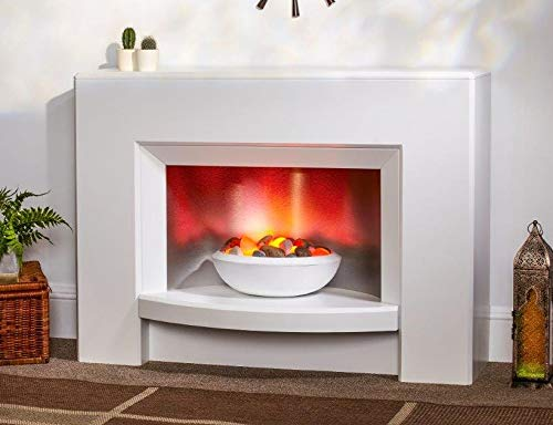 Suncrest Stockeld Textured White Surround Modern Electric Fire Fireplace Suite