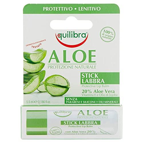 Equilibra Viso, Aloe Stick Labbra, Stick Labbra a Base di Aloe Vera, Idratante Labbra che Crea un Velo Protettivo Contro Gelo, Disidratazione, Sole e Vento in Ogni Stagione, 5,5 ml