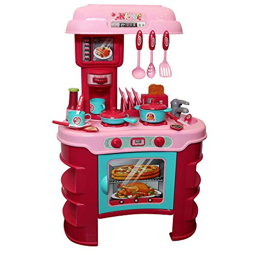 Pretend Play Kitchen for Toddlers, Toys for Girls 3-Year Old+ | Many Cooking Accessories, Lights, Sound Effects | Best Gift for Little Kids | for The Young Chef at Home or Preschool, Pink