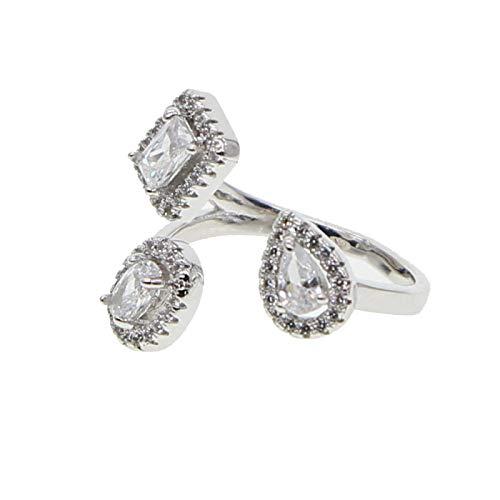 yqs Anillo abierto de moda anillos muestran elegante brillante zirconia cúbica dedo joyería para mujeres niñas color blanco plata anillo de boda relleno