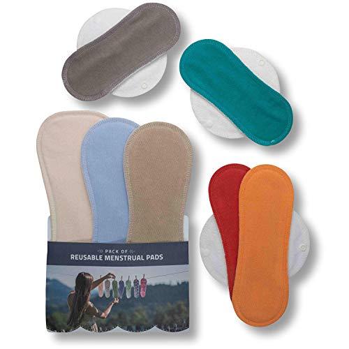 Waschbare Stoffbinden aus Bio Baumwolle, 7er Pack Wiederverwendbare Damenbinden MADE IN EU, Reusable Sanitary Pads, dünn wieder Stoff Binden für Menstruation, Inkontinenz, starke postpartale Blutung