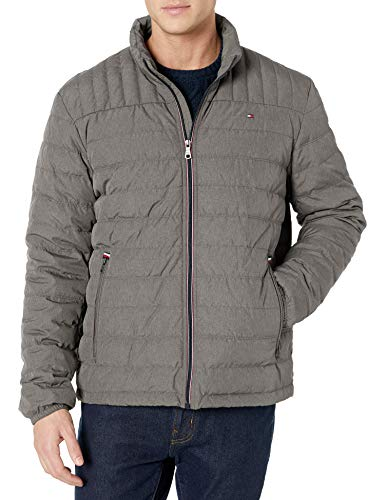Tommy Hilfiger Men's Real Down Insulated Packable Puffer Jacket, Cement, XX-Large