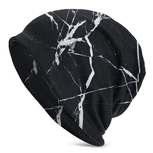 Gorro de Verano para Hombre de Color Negro mármol - Gorro de Punto Ligero y Holgado Fabricado en Japón por Casualbox