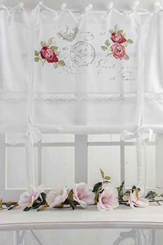 Rose Garden weiss 180x120cm farbiger Rosendruck Raffgardine mit Spitzenborte in Blumenmuster Shabby Chic Vintage Landhaus Franske