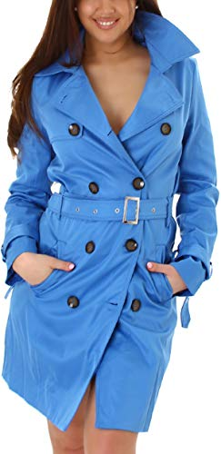 StyleLightOne Damen Trenchcoat Jacke Kurzmantel Seidiger Glanz Knopfleiste Gürtel Kragen, Hell-Blau, 32 34 (36)
