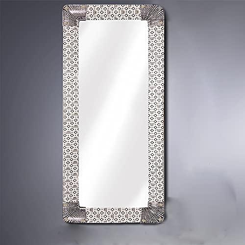 Espejo de Pared de Cuerpo Entero, Forma Rectangular de 30x90cm (Marco Exterior 40x100cm), Decoración de Interiores y Hogar (Plateado)