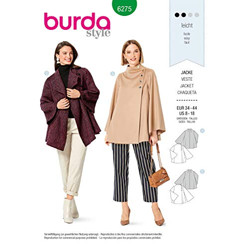 Burda Schnittmuster 6275, Jacken [Damen 34-44] zum selber nähen, ideal für Anfänger [L2]