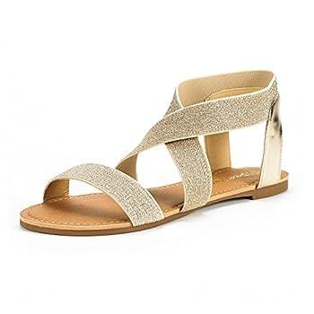 DREAM PAIRS Sandals for Women Elatica-6 Gold/Pu Elastic Ankle Strap Flat Sandals - 9 M US