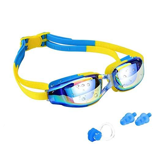 KAILH Kinder Schwimmbrille, UV-Schutz Wasserdichter Antibeschlag Verstellbare Gurt Komfort Fit, Weiches Silikon Schwimmbrillen mit Kostenloser Schutzetui, Nase Clip, Ohrstöpsel, für Mädchen und Jungen