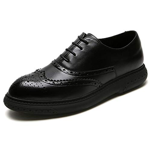 SAIPULIN Zapatos de Boda Ocasionales Atan for Arriba Piel de Microfibra Brogue Oxford for los Hombres Perforado Punta Estrecha Suela de Goma Color sólido Resistente al Desgaste