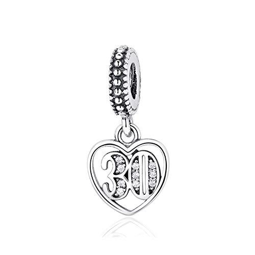 Bracciali braccialetto Gioielli,Original 925 Sterling Silver Bead Charm 30 Years Of Love Pendant Charms Crystal Fit Women Bracelets DIY Jewelry