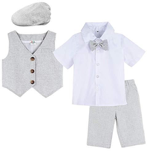 mintgreen Baby Junge Formell Outfits Gentleman Anzugset mit Hut, 18-24 Monate, Grau (Herstellergröße : 90)