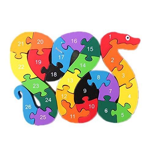 Bigood Puzzle Jouet Enfant Bébé en Bois Alphabet Chiffre Cognition Préscolaire Serpent