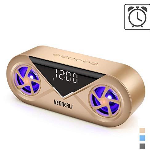 Tragbarer LED Bluetooth 5.0 Lautsprecher mit Uhr, Wireless Musikbox mit Digital Wecker/HiFi-Stereo/Rhythmuslichter, Unterstützt AUX/TF/USB, für Strand Party Schlafzimmer von VENNERLI (Golden)