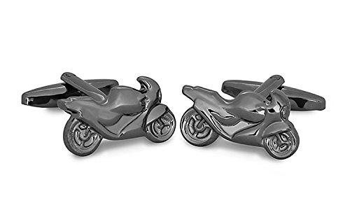 Sologemelos - Boutons De Manchette Moto Course Noir - Argenture Obscure - Hommes - Taille Unique