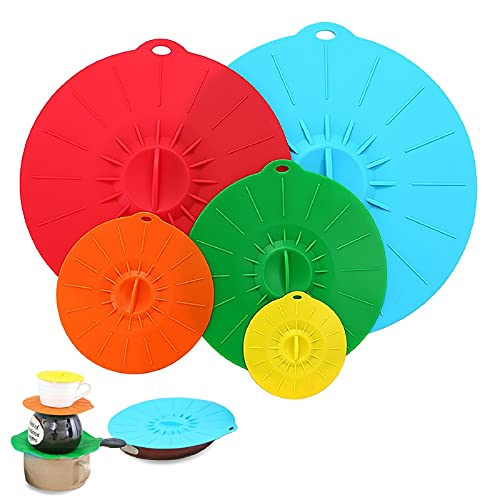 Adpartner Silicone Covers, 5-Pack Various Sizes Microwave Covers Heat Resistant Cooking Lids, Reusable Silicone Suction Lids for Pots Pans Bowls Skillets, BPA-Free & Leak-proof - Diameter 4' 6' 8' 10' 12'