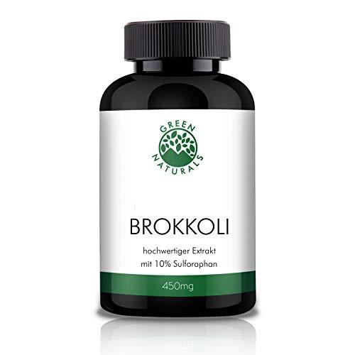 GREEN NATURALS Premium Brokkoli Extrakt - 120 hochdosierte Kapseln á 450mg aus deutscher Herstellung – 10% Sulforaphan 45mg – 100% Vegan & Ohne Zusätze