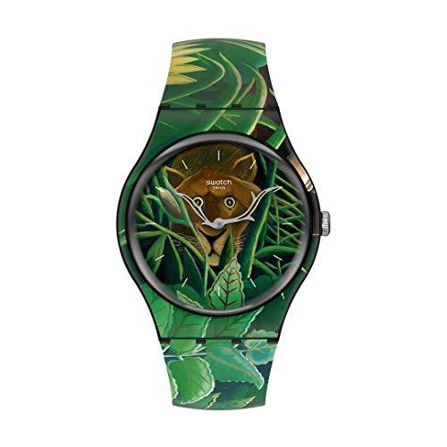 Swatch Nuevo Correa de silicona de cuarzo de caballero, verde, 20 reloj casual (Modelo: SUOZ333)