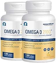 Ocean Blue Omega 3 2100 - Olcenic Blend - 120 Count - 2 Pack - Natural Orange Flavor - No Fishy Aftertaste or Burps - Heart Health - Cholesterol - Eye & Brain Support - Natural Flavor - No Indigestion