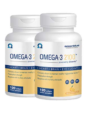 Oceanblue Omega 3 2100-120 Softgels - 2 Pack - Triple Strength Burpless Fish Oil ? Molecularly Distilled - High Concentration EPA DHA and DPA - Wild-Caught - Natural Orange Flavor