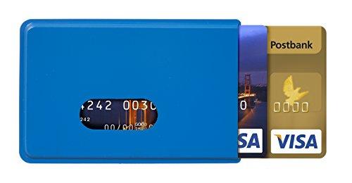 Karteo® Scheckkartenhülle blau   für zwei Karten   Kreditkartenhülle   Kartenschutzhülle   Ausweishülle für Ausweise Kreditkarten Dienstausweise EC Karte Bankkarten Gesundheitskarten