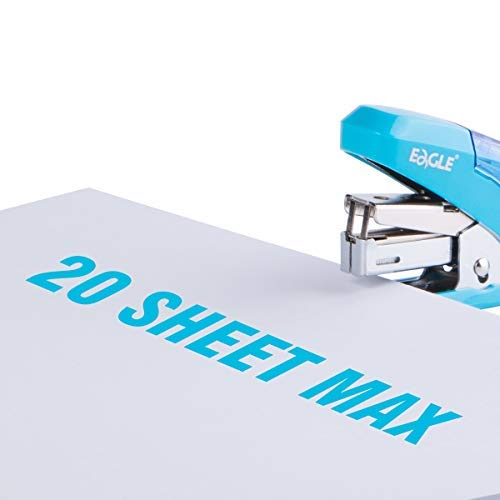 Eagle Reduced Effort Mini Stapler, Maximum 20 Sheets Capacity, with 1000 Staples, 50% Less Effort, Built-in Staple Remover and Staples Storage (Blue) Photo #2