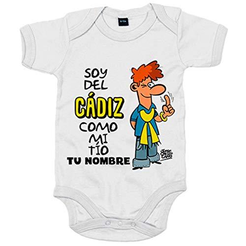 Body bebé soy del Cádiz como mi tio personalizable con nombre - Blanco, 6-12 meses