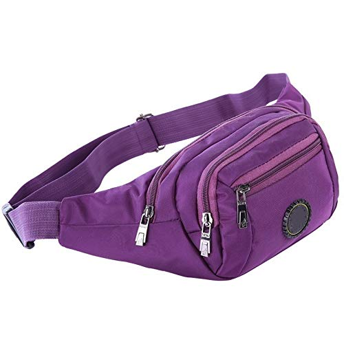 NKns Outdoor Riding Hiking Pockets Multi-Function Male and Female Running Close-Fitting Oxford Cloth Pocket Purple Rucksack Schule