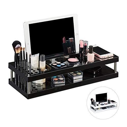 Relaxdays Tischorganizer, Make Up Organizer mit Ablagen für Tablet und Smartphone, Pinselhalter, Büro, 2 Etagen, schwarz