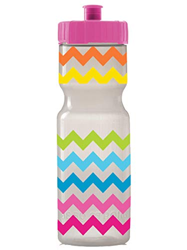 Kids Sports Squeeze Water Bottle - 22 oz. BPA Free Sport Bottle W/ Easy Open Push/Pull Cap - Durable Bottles Perfect for Boys & Girls, School & Sports - Made in USA (Rainbow Chevron)