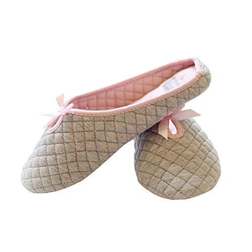 Chausson Femme en Coton Accueil Pantoufles Antidérapante Pantoufle Femme Enceinte Léger et Confortable pour Maison/Bureau Taille 38-39 - Gris