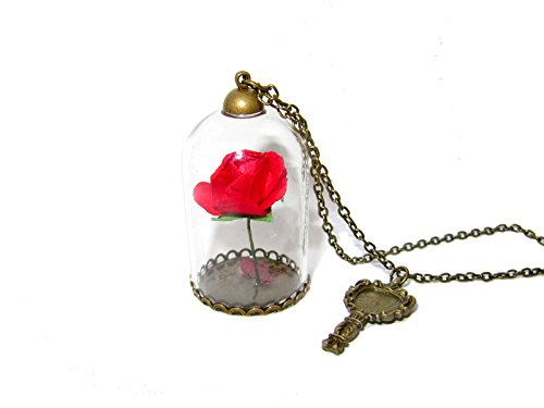 QueenGEEK Beauty and the Beast Enchanted Rose Glass Dome Pendant Necklace US SELLER