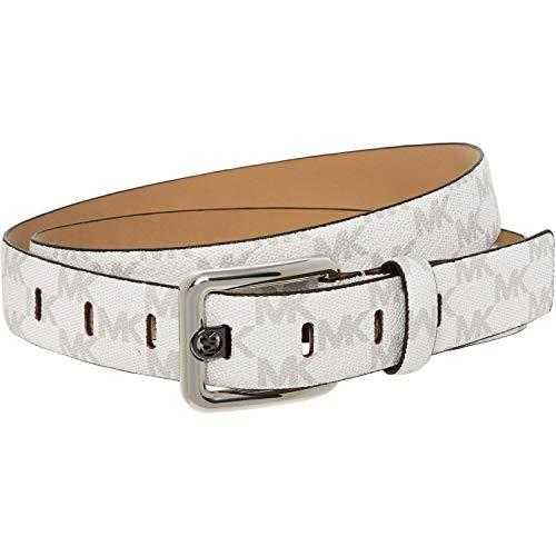 Michael Kors - Cinturón de piel Blanco Logotipo de Mk blanco. S