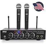 Portable UHF Wireless Microphone System - Battery Operated Dual Bluetooth Cordless Microphone Set, Includes 2 Handheld Transmitter Mic, Mixer Receiver, RCA, for PA Karaoke DJ Party - Pyle PDKWM806B