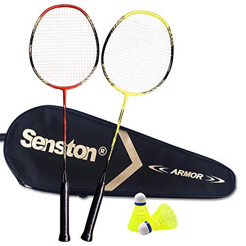Senston - 2 Pack Badminton Rackets Double Badminton Racquets Carbon Fiber Shaft Racquets Badminton Set Red Yellow
