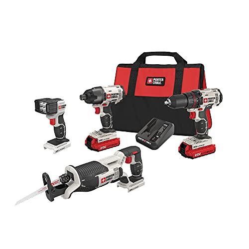 PORTER-CABLE 20V MAX Cordless Drill Combo Kit, 4-Tool (PCCK615L4)