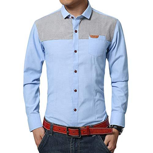 Camisa de Manga Larga de otoño para Hombre, Delgada, Juvenil, de algodón y Lino, Costura sin Planchar