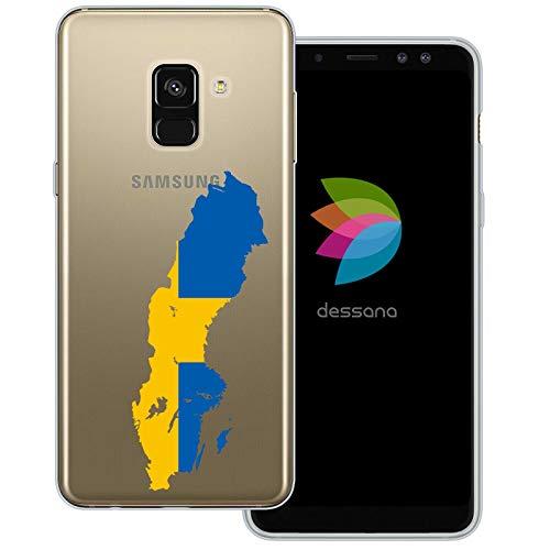 dessana Sverige transparent skyddsfodral mobiltelefon fodral fodral väska för Samsung Galaxy A J, Samsung Galaxy A8 (2018), Sverige karta