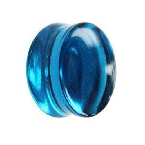 eeddoo Flesh Tunnel Plug Blau Glas 14 mm