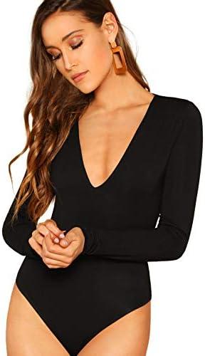 Verdusa Women s Double Layered V Neck Long Sleeve Bodysuit Black XS product image