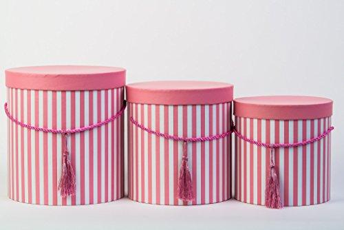 3er Set runde Aufbewahrungsboxen mit Deckel, gestreift in Rosa, mit Kordel und Quaste, Hutschachtel, Dekobox mit Streifen, runde Blumenbox in Rosarot